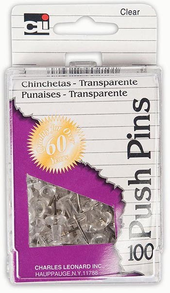 Clear Push Pins 100Pc