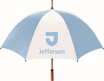 Umbrella Large Wood Handle Light Blue/White